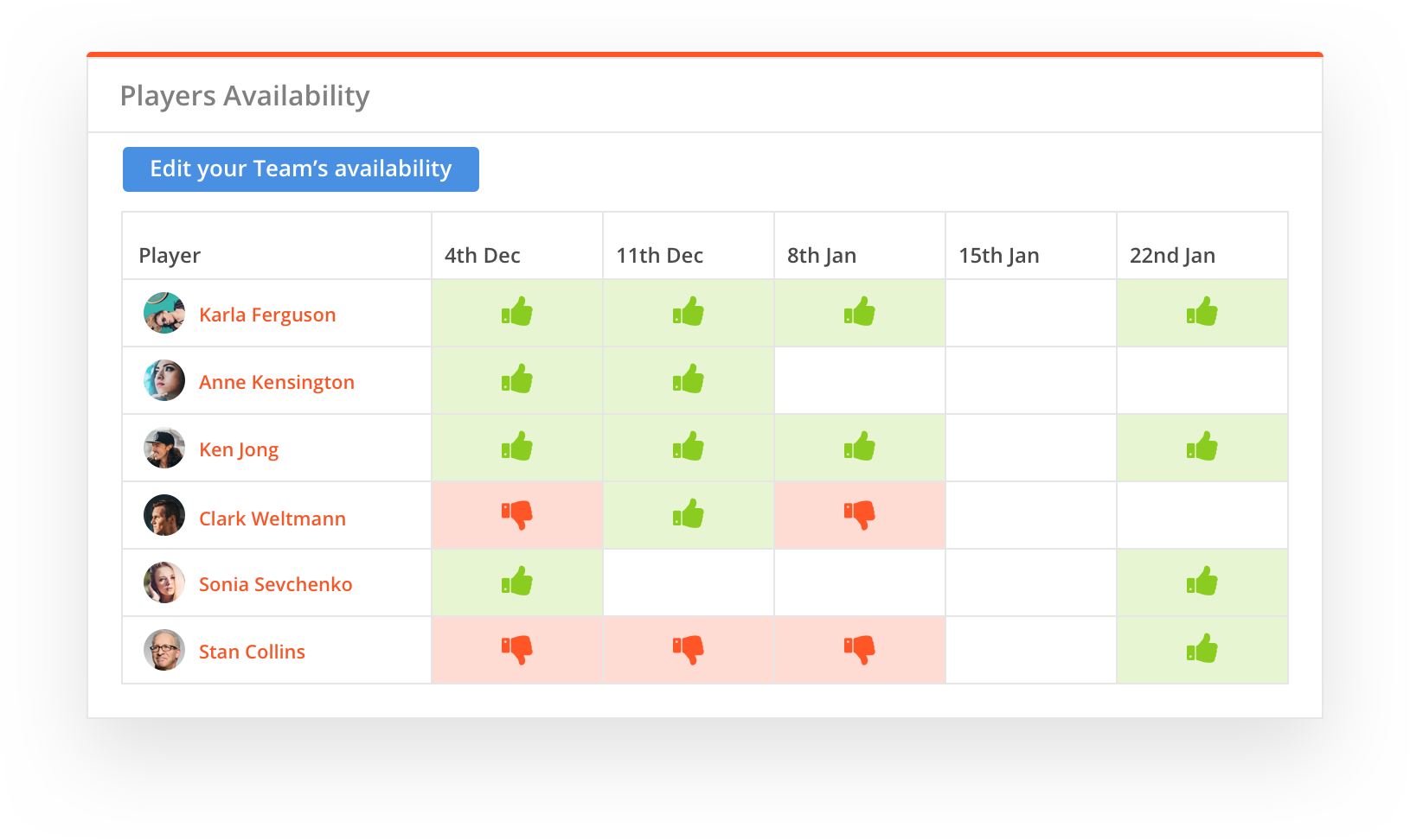 sportyHQ Let players set their availability